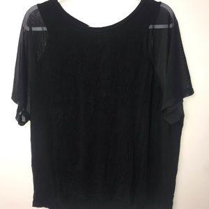 Forever 21 Plus Black Shirt (Mesh, Open back)